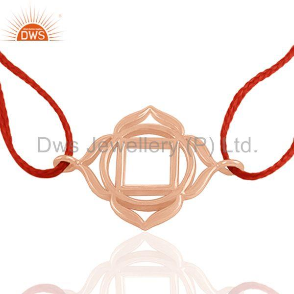 Pink Thread Rose Gold Plated 925 Silver Charm Bracelet Manufacturer