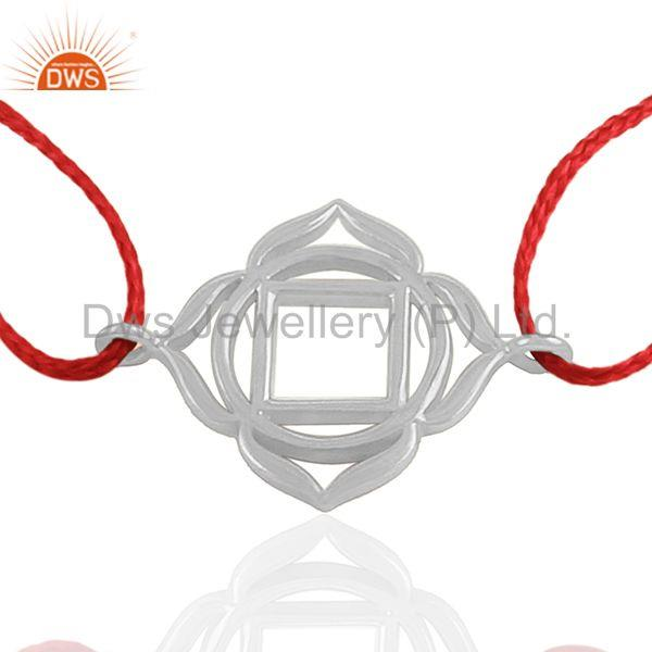 Red Thread 925 Plain Silver Lucky Charm Macrame Bracelet Wholesale