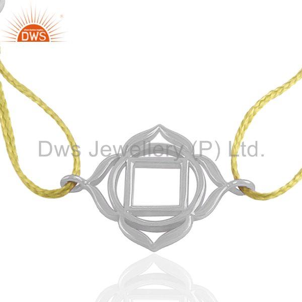 Sterling 92.5 Plain Silver Yellow Macrame Adjustable Charm Bracelet
