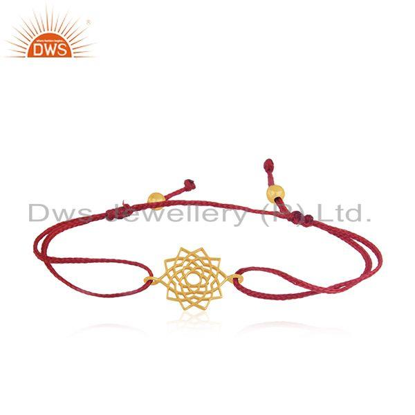Gold Plated Sterling 925 Silver Macrame Bracelet Manufacturer India