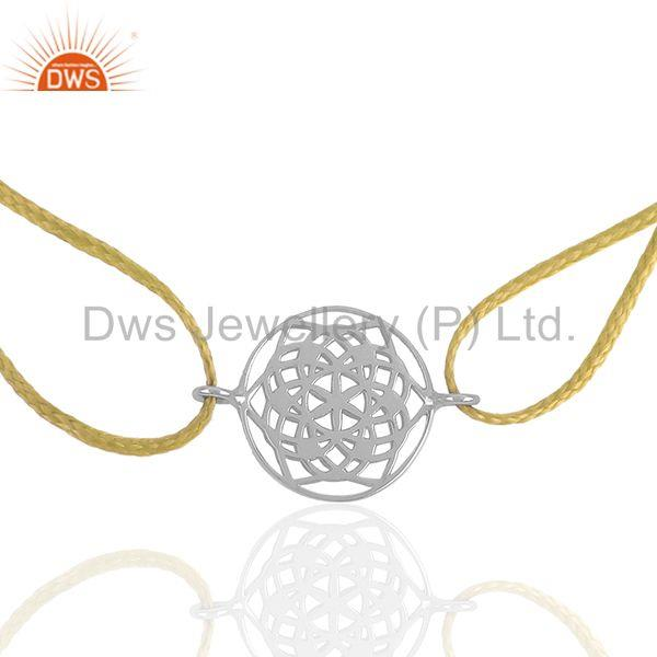 Yellow Macrame Sterling Plain Silver Charm Bracelet Jewelry Wholesale