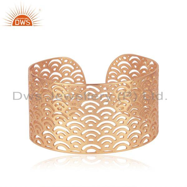 Filigree Design Rose Gold Plated 925 Sterilng Silver Cuff Bracelet