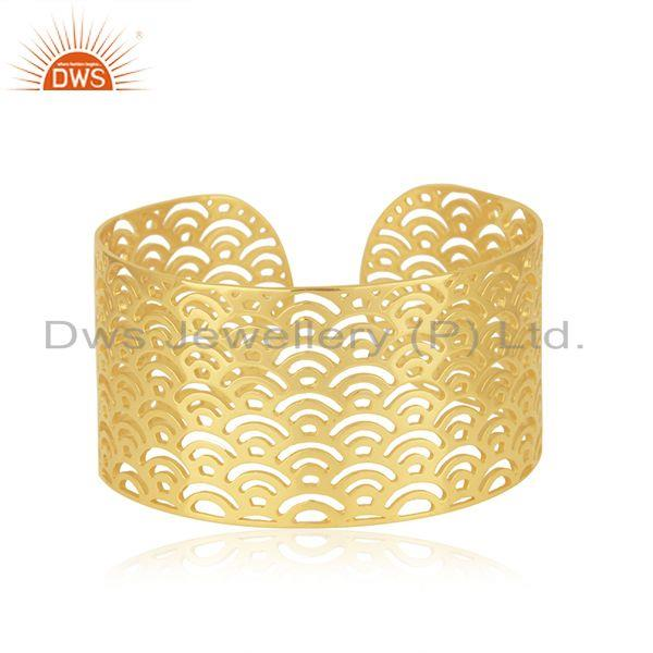 Filigree Design Gold Plated 925 Sterilng Silver Cuff Bracelet Supplier