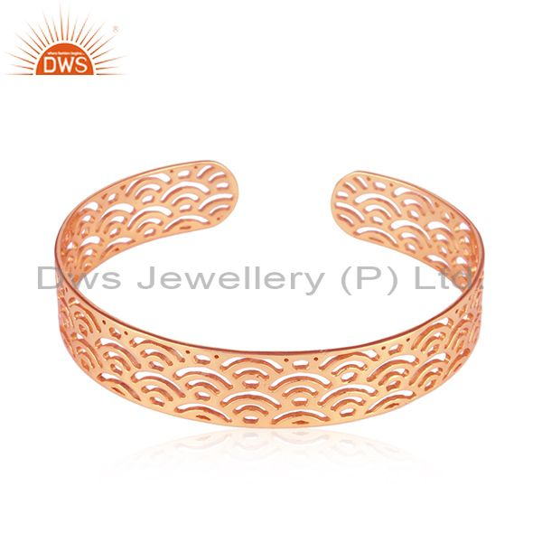 Marvelous Filigree Design Rose Gold Plated Silver Cuff Bangle