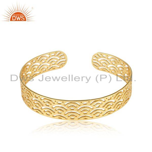 Filigree 18k Yellow Gold Plated Designer Plain Silver Cuff Bangle