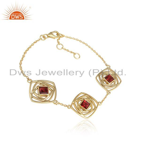 Garnet gemstone 18k gold plated designer silver girls bracelets