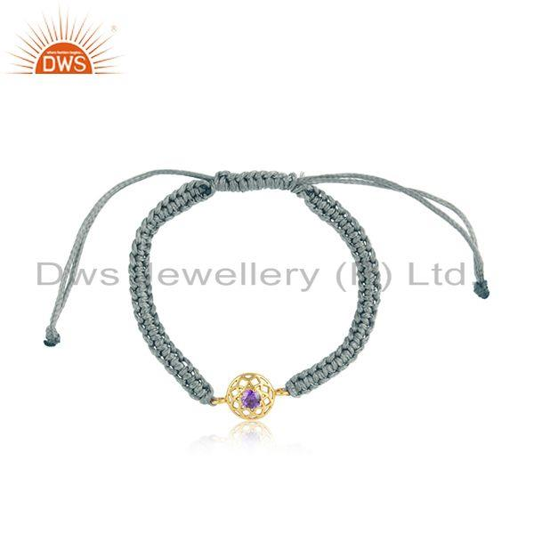 Floral designer gray cord gold on silver bracelet in amethyst cz