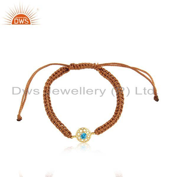 Chakra Designer Brown Cord Bracelet in Gold on Silver and Blue Cz