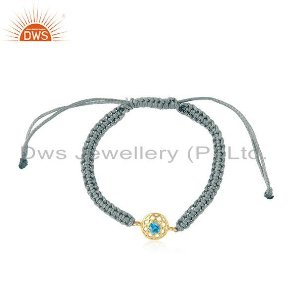 Chakra Designer Gray Cord Gold on Silver Bracelet in Blue Cz