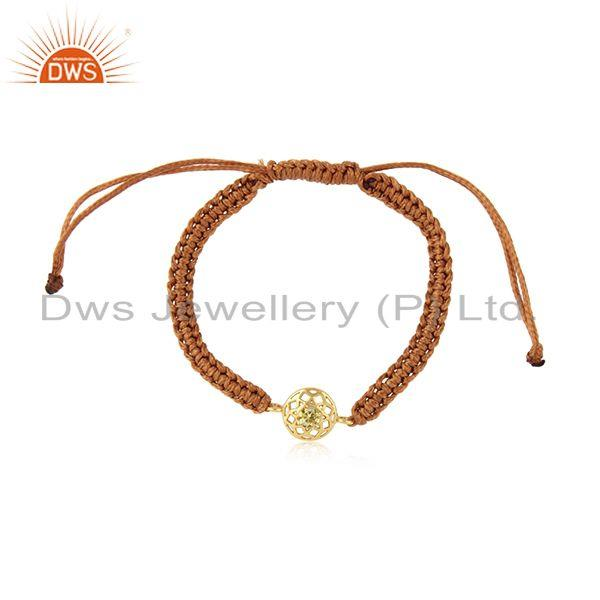 Floral designer brown cord bracelet in gold on silver and citrine cz