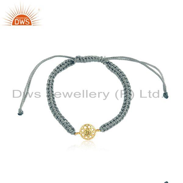 Floral designer gray cord gold on silver bracelet in citrine cz
