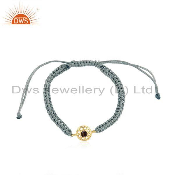 Chakra Designer Gray Cord Gold on Silver Bracelet in Smoky