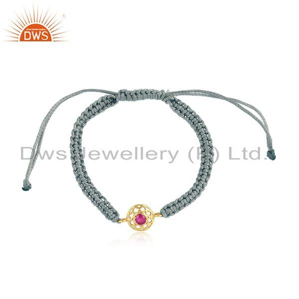 Chakra Designer Gray Cord Gold on Silver Bracelet in Red Cz