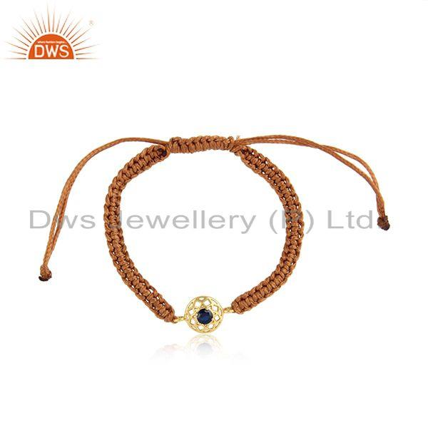 Chakra Designer Cord Bracelet in Gold on Silver and Blue Sapphire Cz