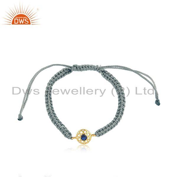 Chakra Designer Gray Cord Gold on Silver Bracelet in Blue Sapphire Cz