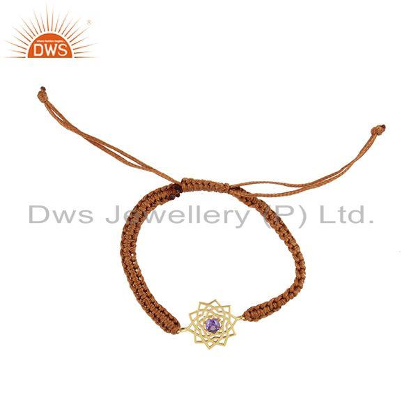 Designer chakra gold on silver brown cord bracelet with amethyst cz
