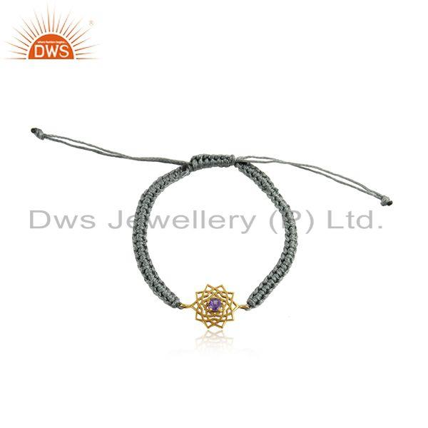 Designer Chakra Gold on Silver Gray Cord Bracelet with Amethyst Cz