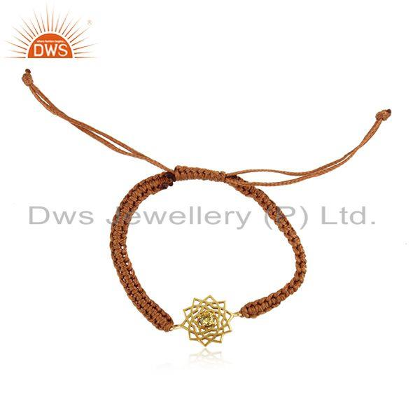 Designer Chakra Gold on Silver Brown Cord Bracelet with Citrine Cz