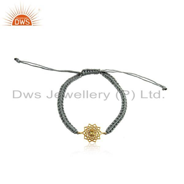 Handmade energy chakra gold on silver gray cord citrine cz bracelet