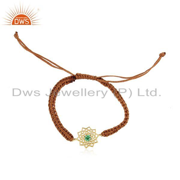 Handmade energy chakra gold on silver brown cord green cz bracelet