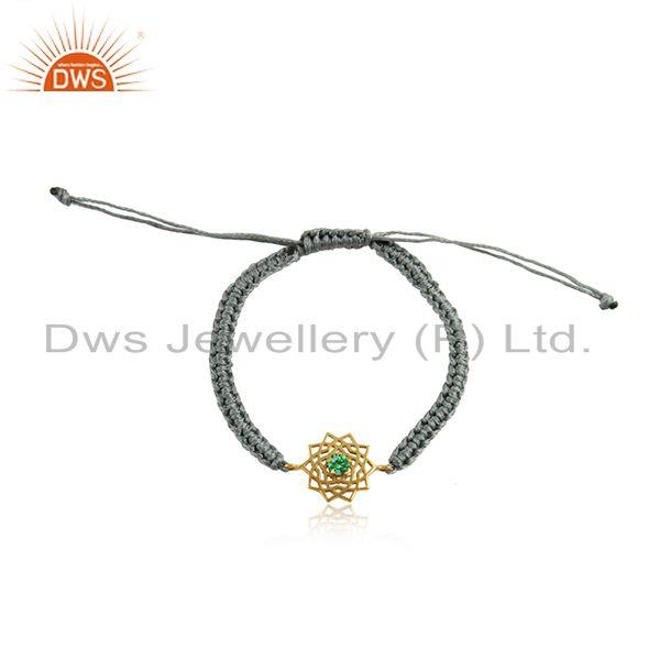Handmade energy chakra gold on silver gray cord green cz bracelet