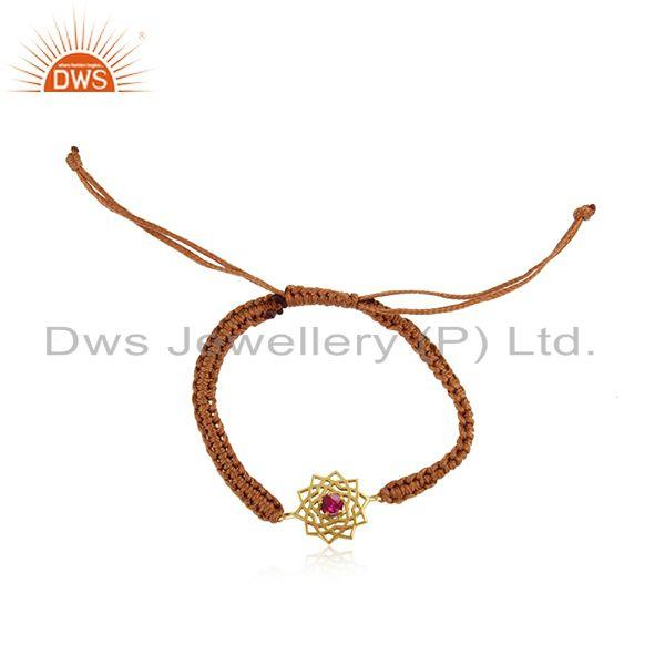 Handmade energy chakra gold on silver brown cord red cz bracelet