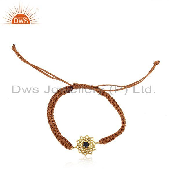 Handmade energy chakra gold on silver brown cord blue cz bracelet