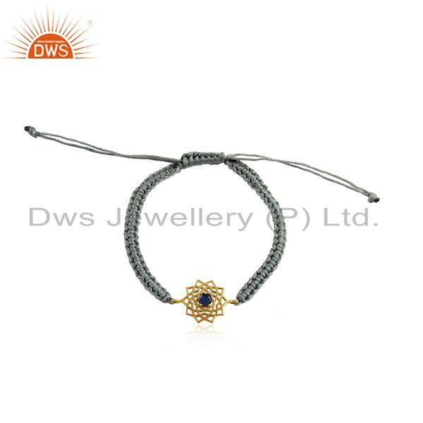 Handmade energy chakra gold on silver gray cord blue cz bracelet