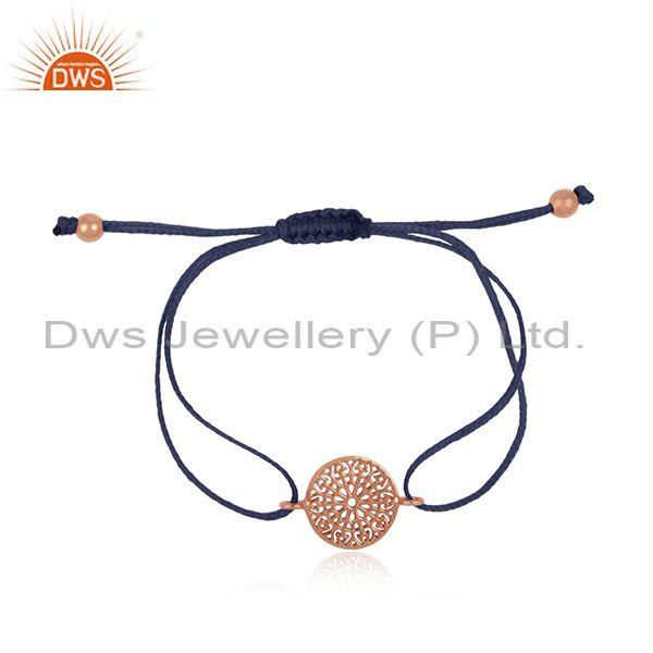 Filigree Mandala Design Rose Gold on Silver Blue Cord Bracelet
