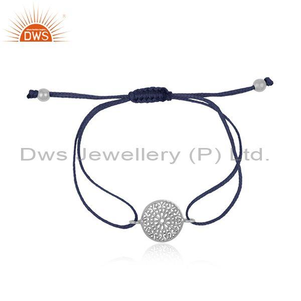 Mandala Design White Rhodium on Silver 925 Blue Cord Bracelet