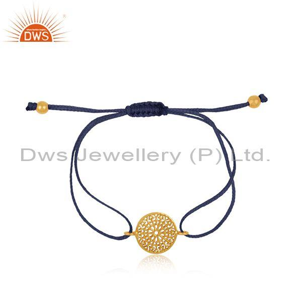 Filigree Mandala Design Gold on Silver 925 Blue Cord Bracelet