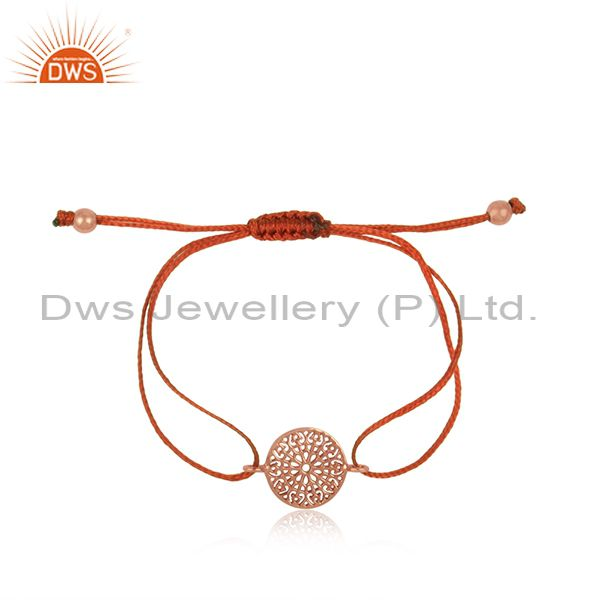 Filigree Mandala Design Rose Gold on Silver Brown Cord Bracelet