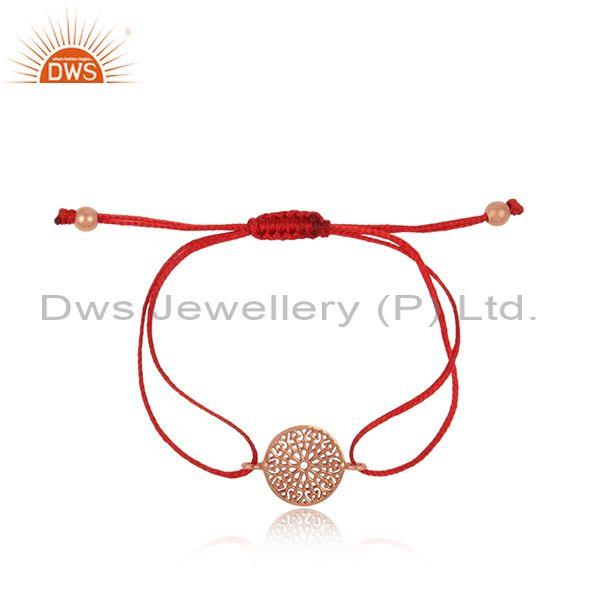 Filigree Mandala Design Rose Gold on Silver Red Cord Bracelet