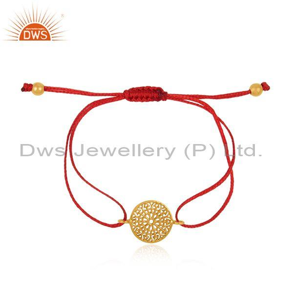 Filigree Mandala Design Gold on Silver 925 Red Cord Bracelet