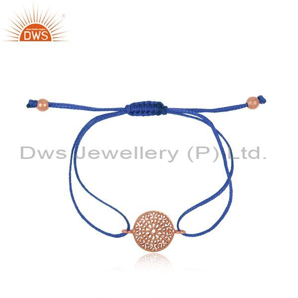 Filigree Mandala Design Rose Gold on Silver Sky Blue Cord Bracelet