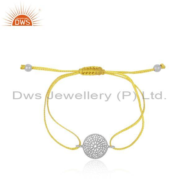 Mandala Design White Rhodium on Silver 925 Yellow Cord Bracelet