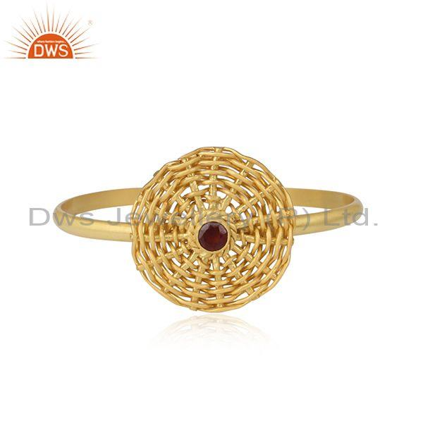 Gold On 925 Silver Woven Boho Style Garnet Cuff Bangle