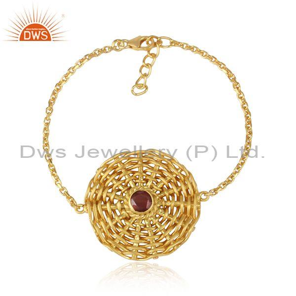 Garnet Set Gold On 925 Silver Woven Boho Chain Bracelet