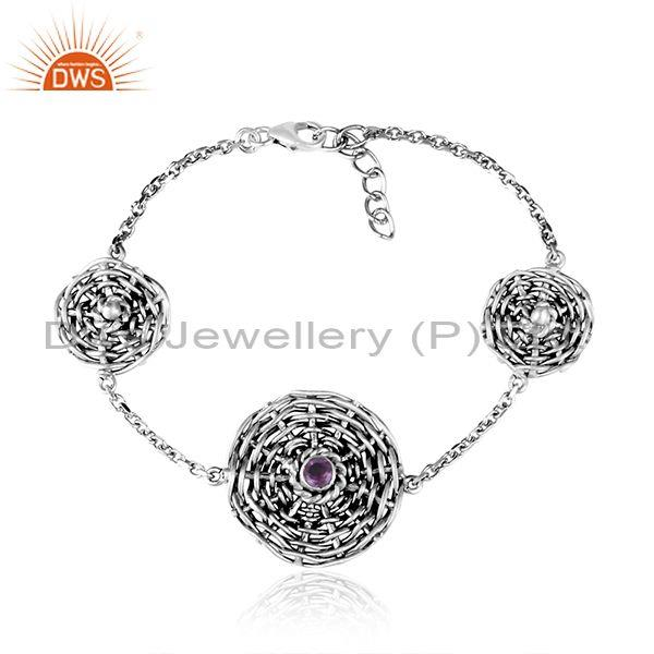 Amethyst Set Woven Charms Oxidized Silver Chain Bracelet