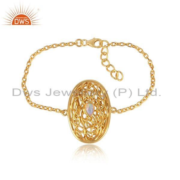 Entwined Ethiopian Opal Charm Gold On Silver Chain Bracelet