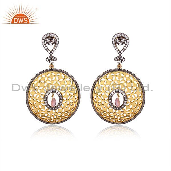 22K Yellow Gold Plated Sterling Silver Tourmaline And CZ Filigree Dangle Earring