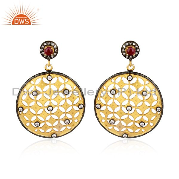 Cz and hydro pink set brass gold turkish pattern earrings