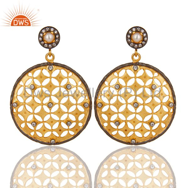 18K Yellow Gold Plated Brass Pearl And Cubic Zirconia Filigree Fashion Earrings