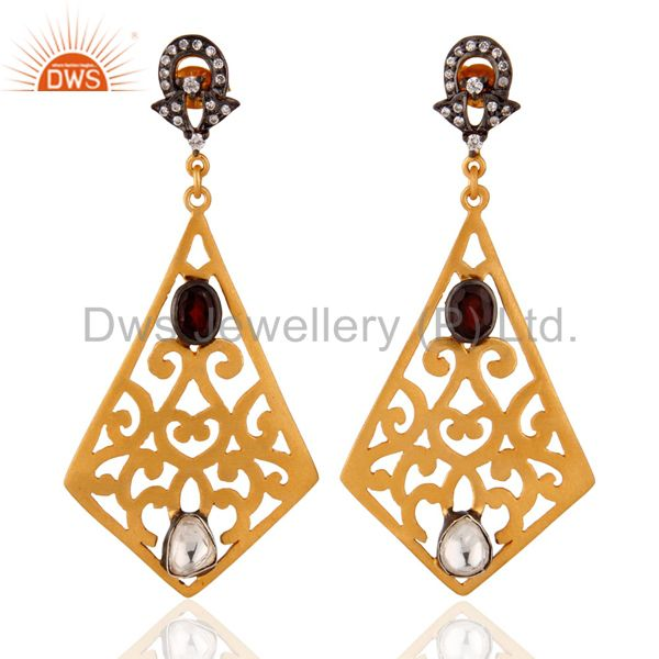 Indian Artisan Crafted 24k Gold Plated 925 Silver Filigree Garnet Zircon Earring