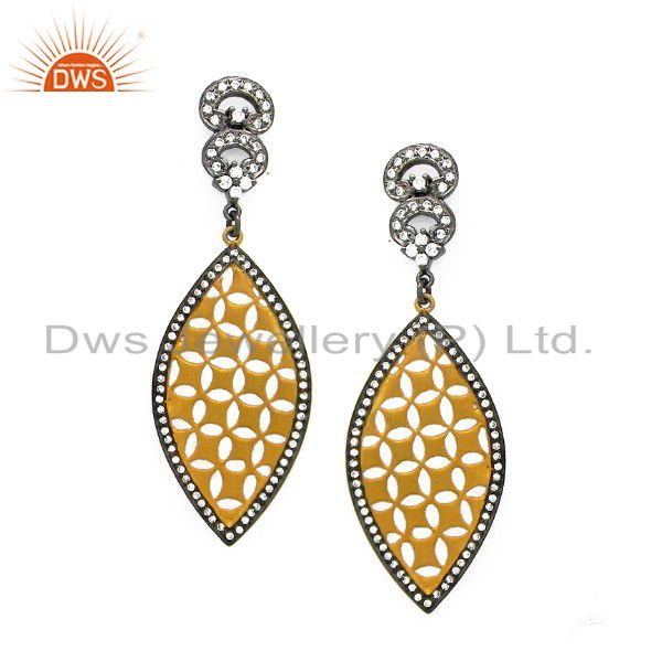 22K Yellow Gold Plated Sterling Silver Cubic Zirconia Filigree Dangle Earrings