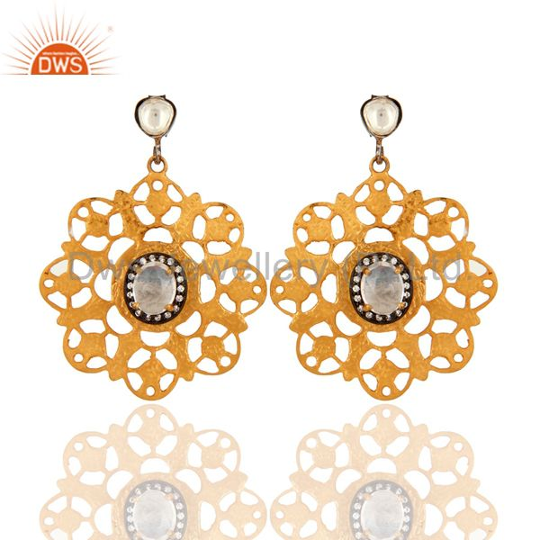 Handmade Designer Sterling Silver Crystal Polki & CZ Earring With Gold Plated