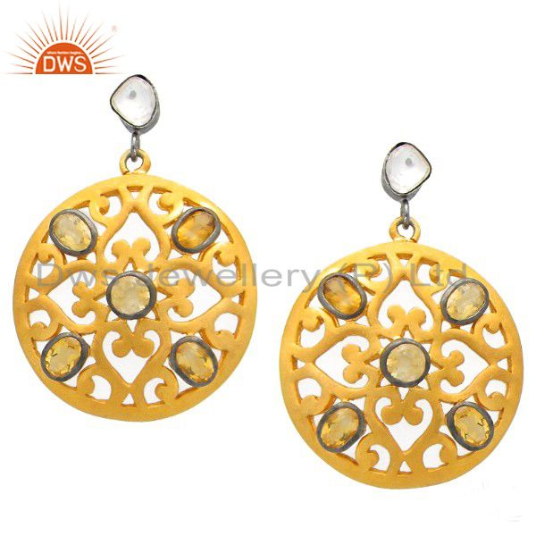 18K Yellow Gold Plated Sterling Silver Citrine & CZ Filigree Dangle Earrings