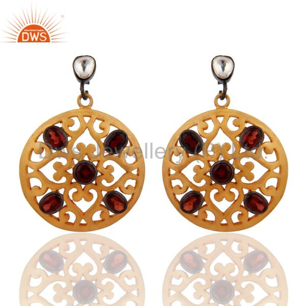 Natural Garnet Gemstone Designer Earring Handmade 925 Silver Gold Plated Jewelry