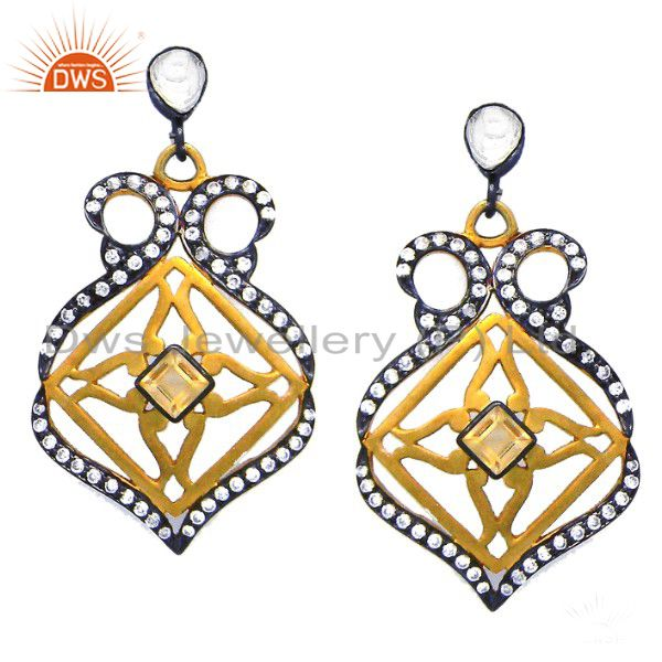 18K Gold Plated Sterling Silver Crystal CZ And Citrine Designer Dangle Earrings
