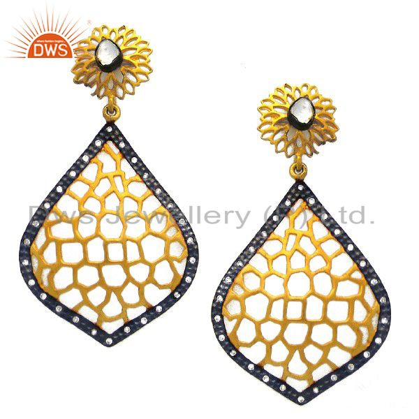 24K Yellow Gold Plated Sterling Silver CZ Crystal Polki Designer Dangle Earrings